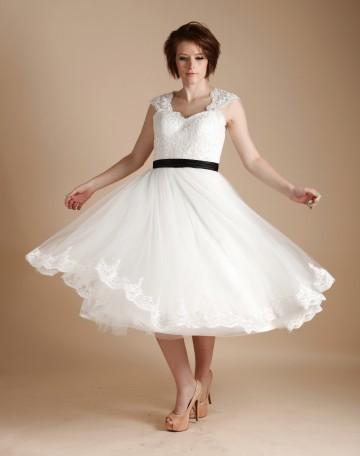 Princessly.com-K1000255-Ivory Lace Tulle Keyhole Back Short Tea Length Wedding Dress-20