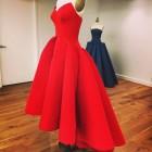 Princessly.com-K1004099 Red Satin HI-Low Wedding Prom Evening Party Dress-01