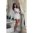 Princessly.com-K1004123 Ivory Lace Long Sleeves Keyhole Back Short Wedding Party Dress-02