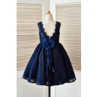 Princessly.com-K1003397 Deep V Back Navy Blue Lace Wedding Flower Girl Dress with Flower-01