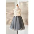 Princessly.com-K1003400 Sheer Illusion Neck Gray Tulle Wedding Flower Girl Dress with Champagne 3D Flowers-01