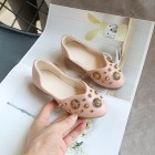 Princessly.com-K1003944-Ivory/Black/Pink Bow Leather Shoes Low Heel Shoes Wedding Party Flower Girl Shoes-01