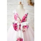 Princessly.com-K1004031-Floral Print Satin Pink Tulle V Back Wedding Flower Girl Dress-01