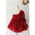 Princessly.com-K1004128-One Shoulder Burgundy Sequin Long Sleeves Wedding Flower Girl Dress Kids Party Dress-01