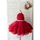 Princessly.com-K1004130-Halter Neck Burgundy Tulle Ruffles Wedding Flower Girl Dress Kids Party Dress-01