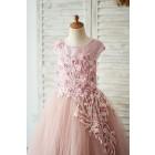 Princessly.com-K1004054-Mauve Lace Tulle 3D Flowers V Back Wedding Flower Girl Dress-01