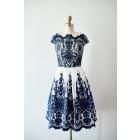 Princessly.com-K1003818-Cap Sleeves Navy Blue Lace chiffon Wedding Bridesmaid Dress Evening Dress in Knee Length-01