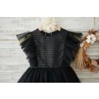 Princessly.com-K1003906-Black Sequin Tulle Ruffle Sleeves Wedding Flower Girl Dress-01