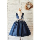 Princessly.com-K1004059-Navy Blue Satin V Neck Wedding Party Flower Girl Dress-01