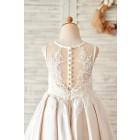 Princessly.com-K1004064-Champagne Satin Ivory Lace Sheer Back Wedding Flower Girl Dress-01