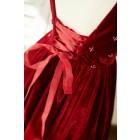 Princessly.com-K1003844-Burgundy Velvet Corset Back Cap Sleeves Wedding Flower Girl Dress-01