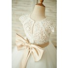 Princessly.com-K1003857-Ivory Lace Tulle Cap Sleeves Wedding Flower Girl Dress with Bow-01