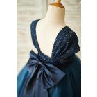 Princessly.com-K1003852-Navy Blue Lace Tulle Cap Sleeves Wedding Flower Girl Dress with Bow-01