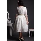 A-line Scoop Neck Half Sleeves Layered Lace Tea Length Wedding Dress w/ Satin Belt