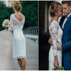 Princessly.com-K1004120-Ivory Lace Long Sleeves Short Wedding Party Dress-01