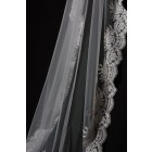 Princessly.com-K1000335-Cathedral Long Floor Length French Lace Trim Appliques Wedding Veil-01