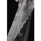 Princessly.com-K1000336-Cathedral Long Length Gold Metallic French Lace Wedding Veil-01