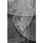 Princessly.com-K1000337-Short Elbow Length Horsehair Trim Lace Wedding Veil-01