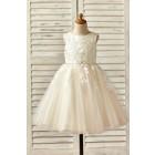 Princessly.com-K1000145 Champagne Satin Tulle Flower Girl Dress with Beaded Sash-01