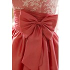 Princessly.com-K1001958-Coral Lace Taffeta Bridesmaid Dress in knee Short Length-01