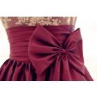 Princessly.com-K1001959-Lace Taffeta Bridesmaid Dress In knee Short Length-Dark Purple Color-01