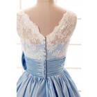 Princessly.com-K1001960-Lace Ivory/Blue Taffeta Bridesmaid Dress In knee Short Length-01