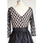 Princessly.com-K1000313-Long Sleeves V Neck Polka Dots Tulle Black Taffeta Short Wedding Bridesmaid Party Dress-01