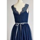 Princessly.com-K1000291-V Neck Navy Blue Lace Tulle Long Bridesmaid Dress/Wedding Party Dress-01