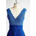 Princessly.com-K1000295-Sexy V Neck Royal Blue Lace Chiffon Long Bridesmaid Dress-01