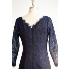 Princessly.com-K1000304-Long Sleeves Navy Blue Lace Short Wedding Bridesmaid Dress/Mother Dress-01