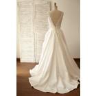 Princessly.com-K1000059-Deep V Back Lace Satin Wedding Dress Bridal Gown-01
