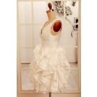 Princessly.com-K1000065-Deep V Neck Ivory Taffeta Ruffle Knee length Short Wedding dress-01
