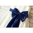 Princessly.com-K1000160-Ivory Satin Flower Girl Dress with navy blue belt/bow-01