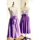 Princessly.com-K1000222-V Back Ivory Lace /Purple Taffeta Tea Length Short Bridesmaid Dress-01