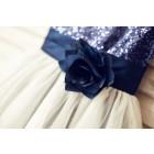 Princessly.com-K1000105-Navy blue Sequin Ivory Tulle Flower Girl Dress with navy blue belt-01