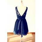 Princessly.com-K1000231-Navy Blue Lace V Back Short Knee Length Bridesmaid Dress-01