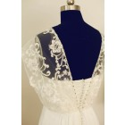 Princessly.com-K1000245-Boho Beach Short Sleeves Ivory Lace Chiffon Long Wedding Dress-01