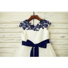 Princessly.com-K1000202-Navy Blue Lace Ivory Satin Organza Flower Girl Dress with navy sash-01