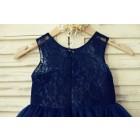 Princessly.com-K1000129-Sheer Neck Navy Blue Lace Tulle Flower Girl Dress-01