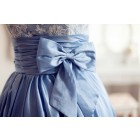 Princessly.com-K1001956-Lace Blue Taffeta Wedding Dress/Bridesmaid Dress in Knee Short Length-01