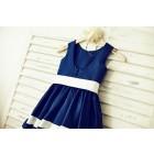Princessly.com-K1000195-Navy Blue Satin Ivory Striped Flower Girl Dress-01
