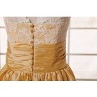 Princessly.com-K1001957-Vintage Ivory Lace Yellow Taffeta Bridesmaid Dress knee Short Length-01