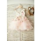 Princessly.com-K1003379 One Shoulder Floral Organza Pink Tulle Cupcake Wedding Flower Girl Dress-01