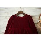 Princessly.com-K1003500-Red Velvet Champagne Tulle Wedding Party Flower Girl Dress with Long Sleeves-01