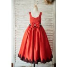 Princessly.com-K1003507-Red Satin Square Neck Wedding Party Flower Girl Dress with Beads/Black Lace Trim-01