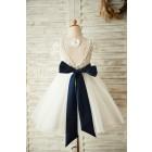 Princessly.com-K1003658-Short Sleeves V Back Lace Tulle Wedding Flower Girl Dress with Navy Blue Belt-01