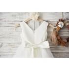 Princessly.com-K1003363-V Neck Ivory Satin Champagne Tulle Wedding Flower Girl Dress with Beaded Belt-01