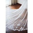 Princessly.com-K1003929-Cathedral Long Tulle Lace Two Layers Wedding Veil Bridal Veil-01