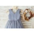 Princessly.com-K1003647-Gray Satin Tulle V Neckline Wedding Flower Girl Dress with Belt-01