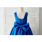 Princessly.com-K1003651-Royal Blue Satin Square Neck Wedding Party Flower Girl Dress with Lace Trim-01